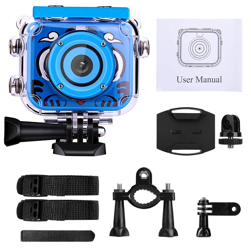 Posiveek Children Kids Camera Waterproof 100FT HD Action Camera 1080P 12MP Sports Camera Camcorder 2 inch LCD Screen (Blue) by POSIVEEK (Image #7)