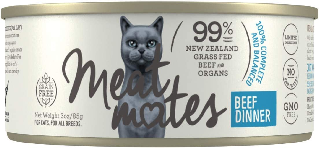 Meat Mates BPA-Free & Gelatin-Free Canned Cat Food, Beef Dinner 3oz 24 Pack