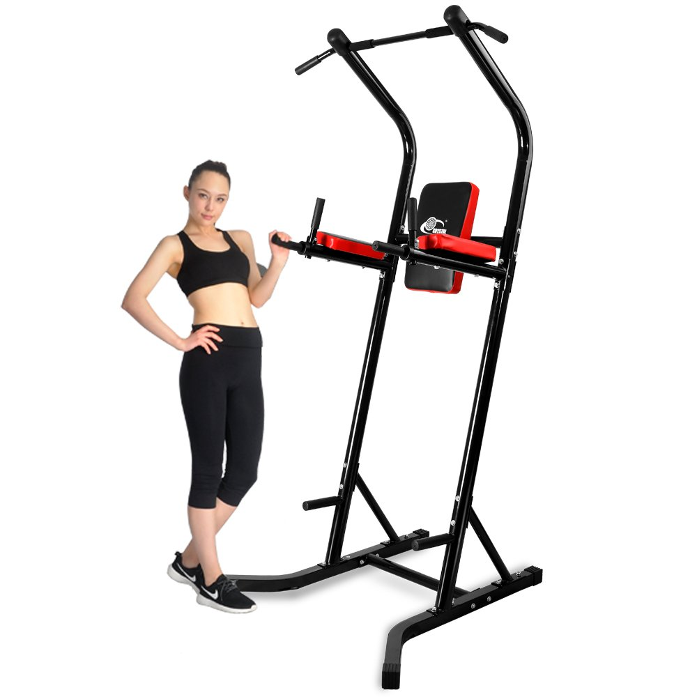 550 lbs Power Tower VKR Pull up Bar Sturdy Chin Up Station Dip Stand Fitness Equipment with Multi Exercise Functions (Black)