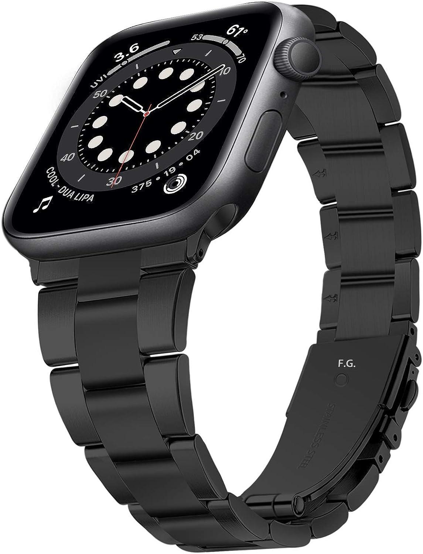 Fullmosa Correa de Reloj Compatible con Apple Watch SE 6/5/4/3/2/1, Correa de Metal para iWatch 38/40/42/44 mm, Repuesto para Apple Watch, Correa de Reloj para Hombre para Iwatch SE