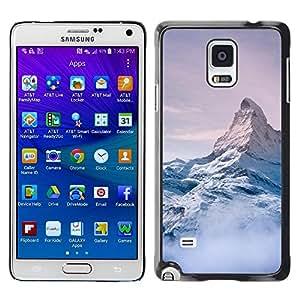 FECELL CITY // Duro Aluminio Pegatina PC Caso decorativo Funda Carcasa de Protección para Samsung Galaxy Note 4 SM-N910 // Mountain Snow Sky High White Blue