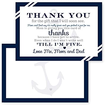 Thank You Letter For Baby Shower.Nautical Thank You Postcards Boys Baby Shower Set Of 15