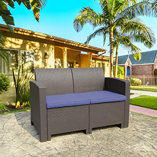 THPLUS All Weather Outdoor Loveseat Resin Plastic Wicker Pattern Patio Bench Cushions Outdoor Sofa Brown Ergonomic Comfortable Modern Easy Assembly Patio Lawn Garden Backyard Pool Balcony