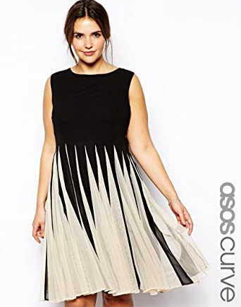 ASOS CURVE Fit & Flare Dress With Inserts In Mono UK SIZE 22 ...