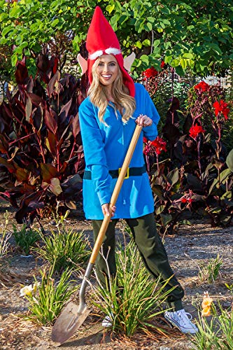 Funny Garden Gnome Costume for Women , Adult Lawn Gnome Halloween Costume  X,Small Blue