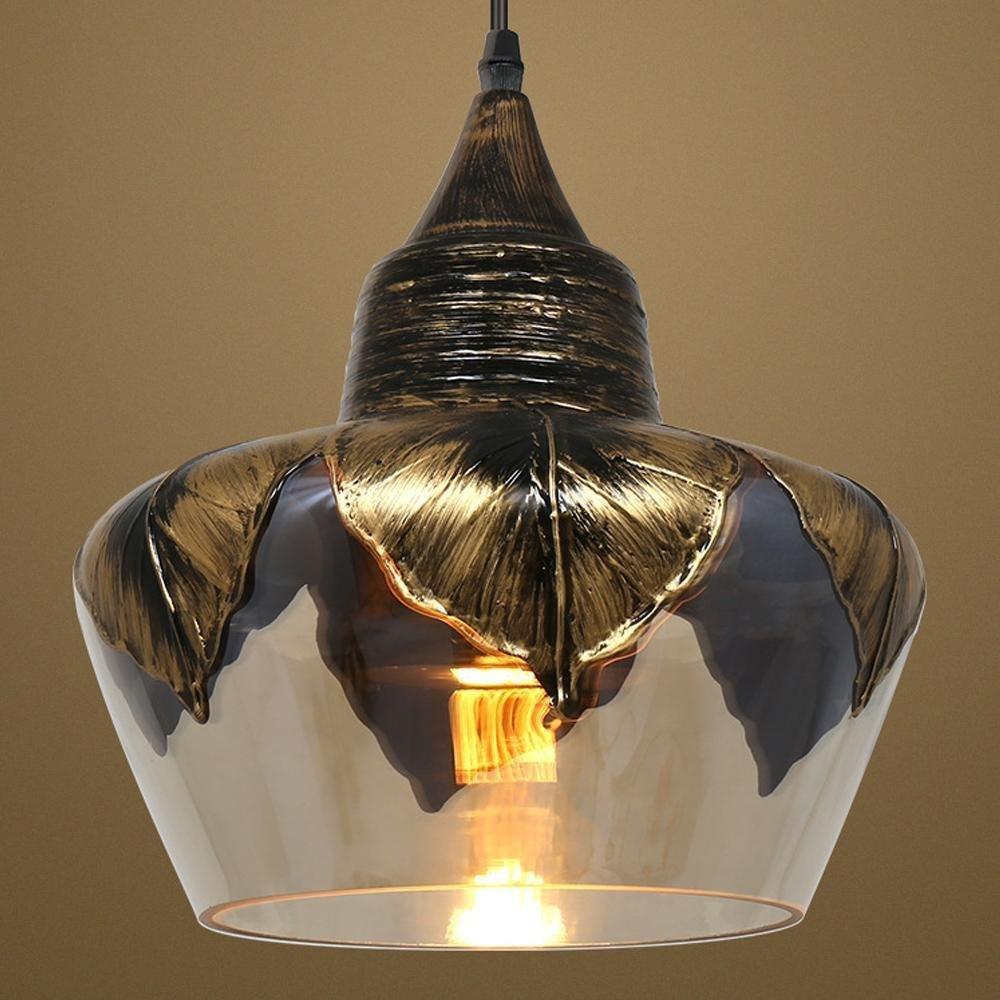 L&U Retro Industrieluster Dekorativer Kronleuchter einfaches Design Glasschirm Höhenverstellbar E27 Sockel 40W max Ø25cm