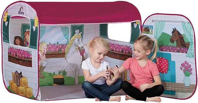 John 77012 Spielzelt Horse Club mit original Schleich Figur Pferdestall, Caravan, Pferdezelt, Kinderzelt, Spielhaus mit gedrucktem Motiv für Kinder,