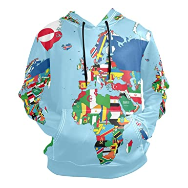 Lorvies Unisex The World Map And Flags Pullover Hoodie Hooded