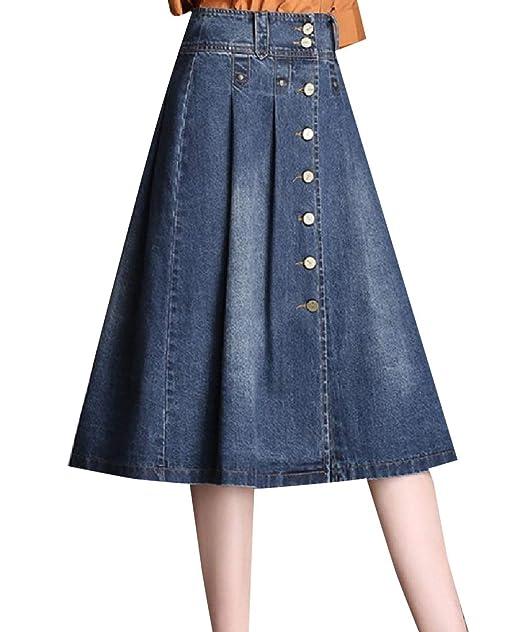 982838d149 Abetteric Women Ruffled Tummy Control Rugged Wear Elegant Denim Skirt Blue S