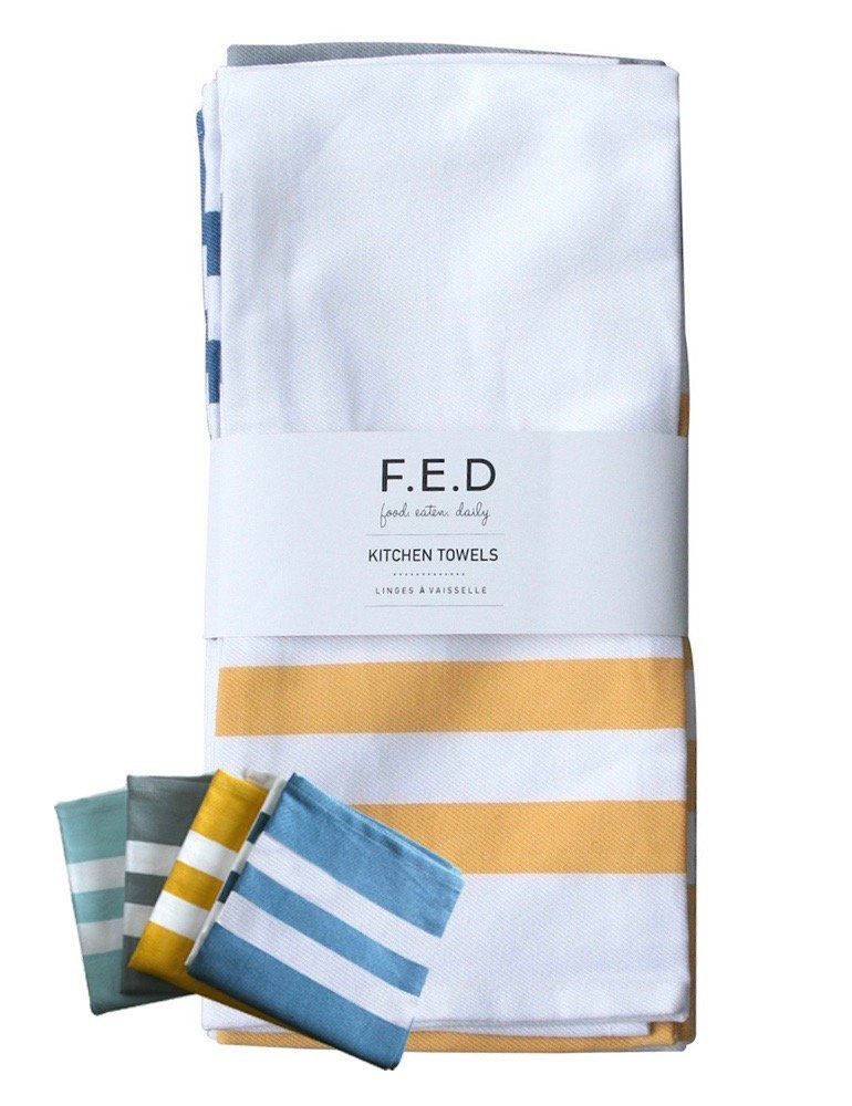 Kitchen Dish Towel by F.E.D, Extra Large Tea Towel in 4 colours, 100% Professional Cotton, Machine Washable Fabric (Set/Pack of 4) by Food.Eaten.Daily