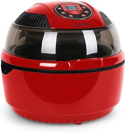 Klarstein VitAir - Freidora de aire caliente, Freidora sin aceite, Asar, Cocer, Placa Halógena, Antiadherente, Capacidad 9L, Potencia 1400W, Programas automáticos, Pantalla LCD, Rojo: Amazon.es: Hogar