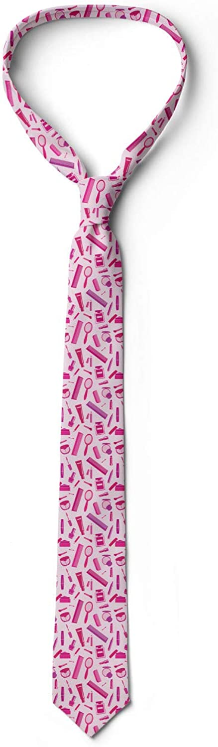 3.7 Makeup Elements and Comb Ambesonne Mens Tie Baby Pink and Multicolor