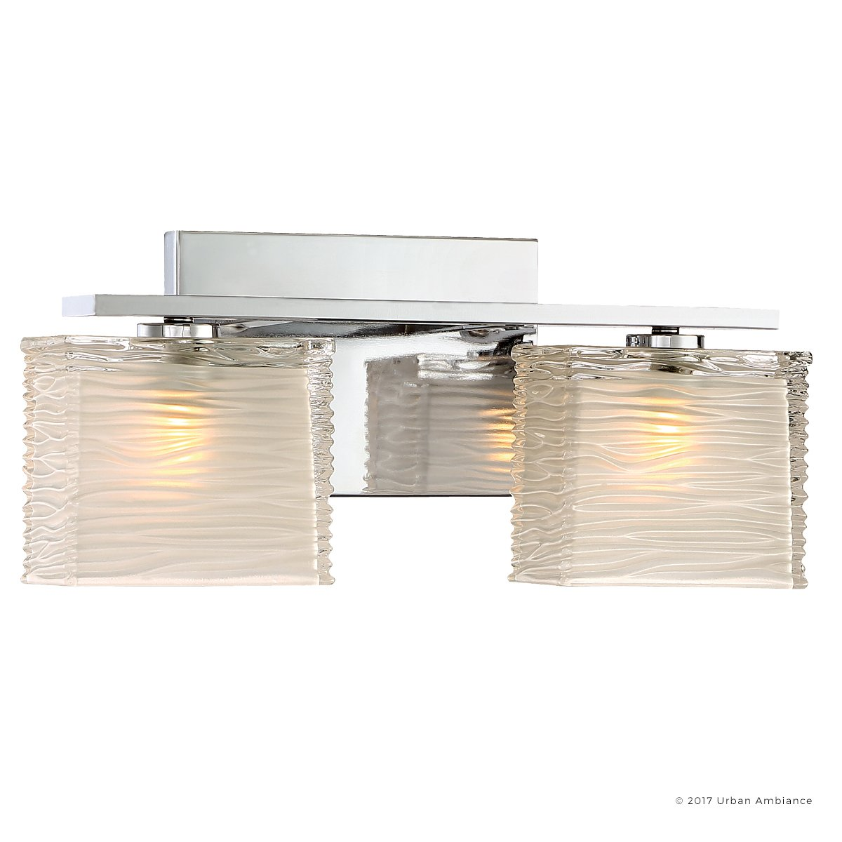 Luxury Modern Bathroom Light, Medium Size: 6.75''H x 15''W, with Style Elements, Polished Chrome Finish and Sandblasted Inner, Clear Wavy Outer Glass, G9 LED Technology, UQL2721 by Urban Ambiance