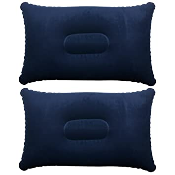 TRIXES Inflatable Pillow For Travel Or Camping   Blow Up Pillow  Blue Twin  Pack