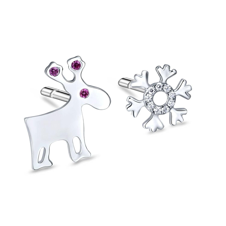S925plata de ley Stud Pendientes, diseño de reno con copo de nieve pendientes navidad joyería regalo para Teen Girls mujeres