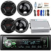 Pioneer DEH-X4900BT Car Bluetooth Radio USB AUX CD Player Receiver - Bundle Combo With 4x JVC CSDR620 6.5 Inch 300-Watt 2-Way Black Audio Coaxial Speakers + + 4-Channel Amplifier + Amp Kit