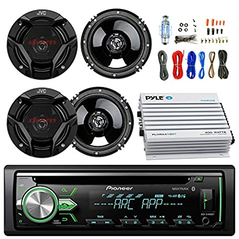 Pioneer DEH-X4900BT Car Bluetooth Radio USB AUX CD Player Receiver - Bundle Combo With 4x JVC CSDR620 6.5