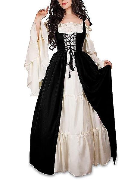96774f980f9c1 ULUIKY Women's Medieval Renaissance Irish Costume Over Dress & White  Chemise Set, Halloween Irish Medieval Dress