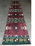 Champion Rugs Southwest Native American Indian Burgundy Area Rug Design #CR19 (32 Inch X 15 Feet 6 Inch Runner)