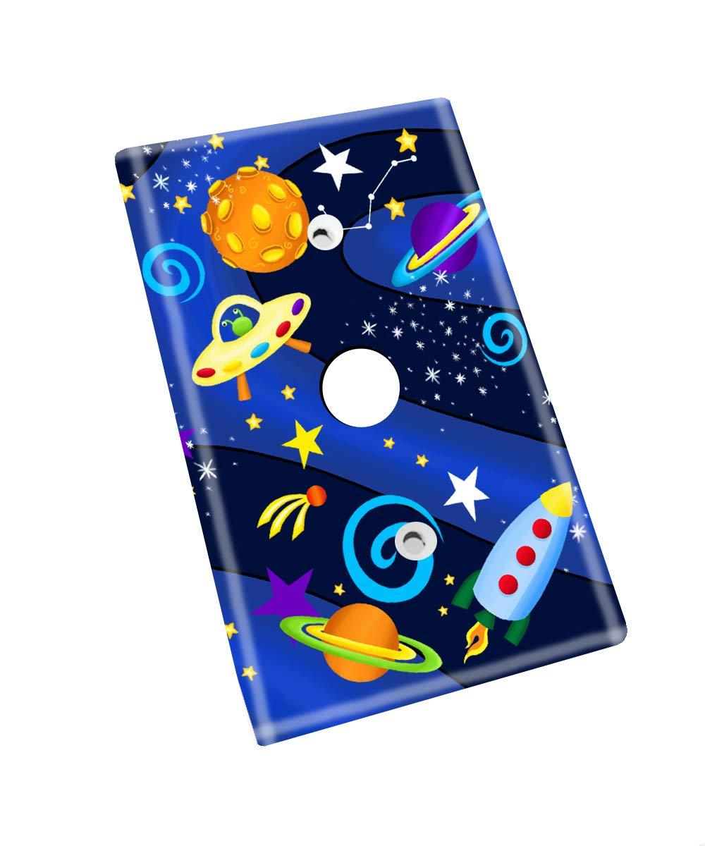 Single Outlet Outerspace Rocket Ship Boys Bedroom Light Switch Cover LS0037