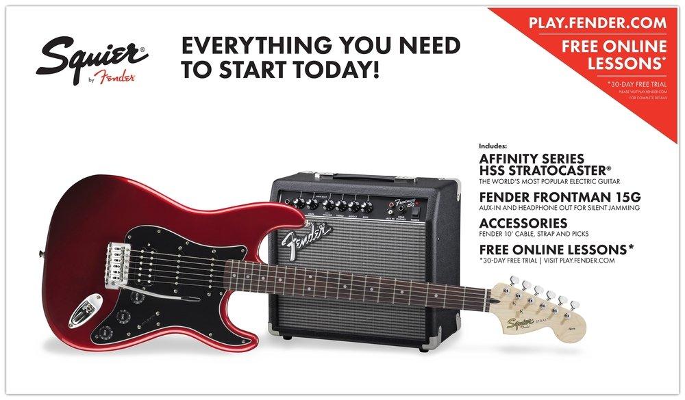 Fender Squier Affinity Pack HSS Guitarra eléctrica con amplificador Frontman 15G y accesorios, color rojo: Amazon.es: Instrumentos musicales