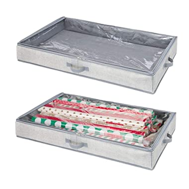 mDesign Soft Fabric Gift Wrap Storage Organizer Holder Box - Low Profile, Easy-View Clear Top Panel, Attached 2-Way Zippered Lid, Side Handles, Stores Long Rolls of Gift Wrap - 2 Pack - Gray