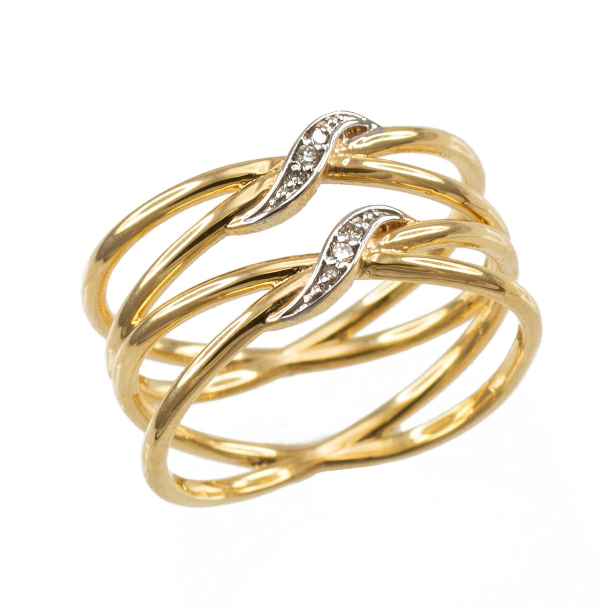 Ladies' 10k Yellow Gold Diamond-Accented Double ''X'' Criss-Cross Long Ring (Size 8.25)