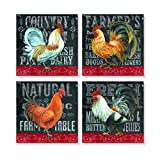 Fresh Farm Country Roosters 4 x 4 Inch Tabletop Coasters Gift Boxed Set of 4