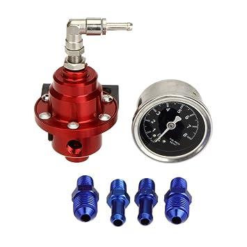 KKmoon Alta Potencia Regulador de Presion de Combustible Ajustable con Aceite Gauge Manometro para Auto
