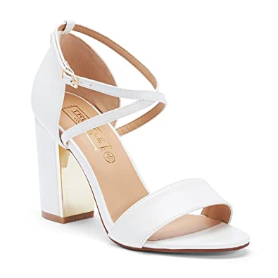 ce8025dbdc TRUFFLE COLLECTION White Block Heel Sandals (FALLON2): Buy Online at Low  Prices in India - Amazon.in