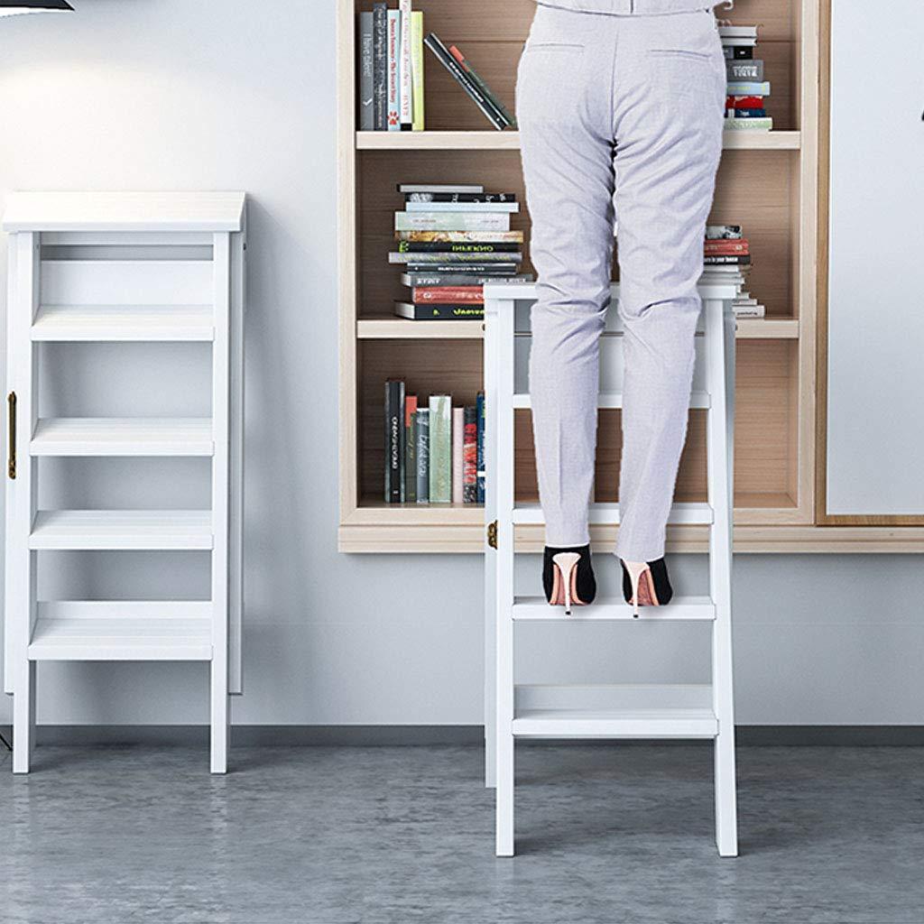 XWZJY Taburete de 5 pelda/ños Plegable Subir Escalera Casa De Madera Escalera de Tijera para la Sala de Estar del Dormitorio de la Biblioteca Elegante Estante de Almacenamiento 150 kg de Capacidad