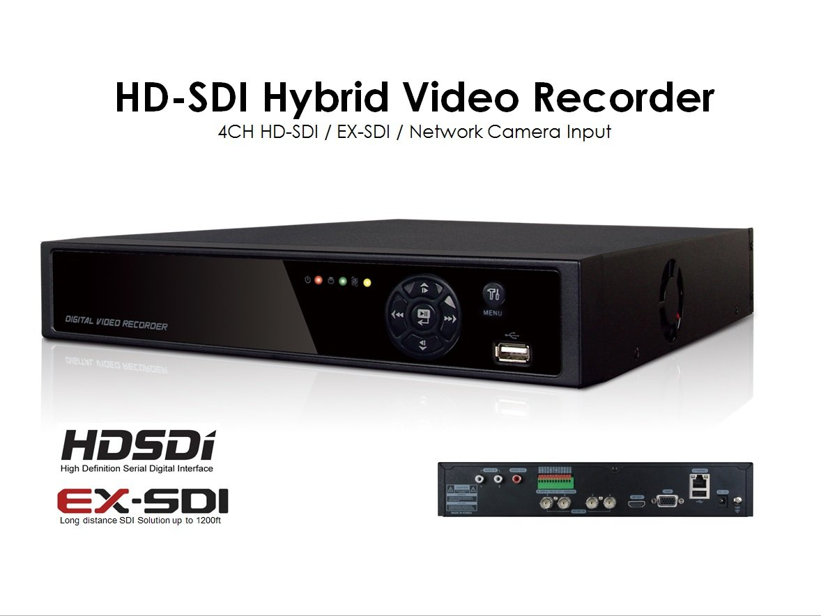 HD-SDI, EX-SDI, IP inputs, KD4204E CCTV Video Recorder, 4CH, 1080p Real-time recording and display, Mobile device supports, Up to 1,500ft through BNC cable ...