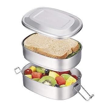 Caja de Almuerzo de Acero Inoxidable Caja de Bento 2 en 1 caja de Alimentos Respetuosa