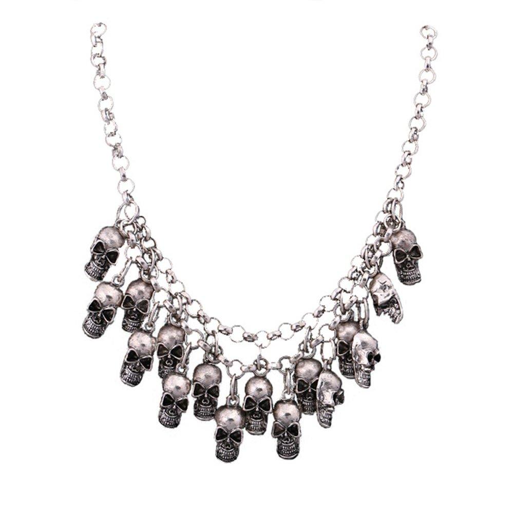 JAJAFOOK Women's Punk Style Multiple Skulls Head Design Chain Collar Bib Gothic Necklace,Classic