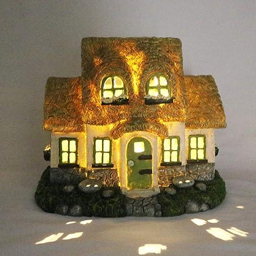 ミニチュアフェアリーハウスは、家の装飾のためのソーラーガーデン装飾ランプハウジング樹脂の彫像ツリーハウス誘導制御光を照射し,A