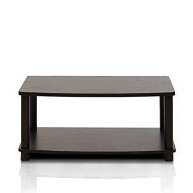 Furinno 13191EX/BK Turn-N-Tube No Tools 2-Tier Elevated TV Stand, Espresso/Black