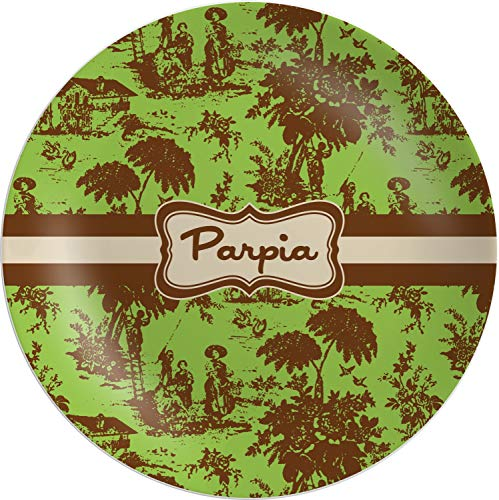 Green & Brown Toile Melamine Plate (Personalized) (Plates Toile Brown)