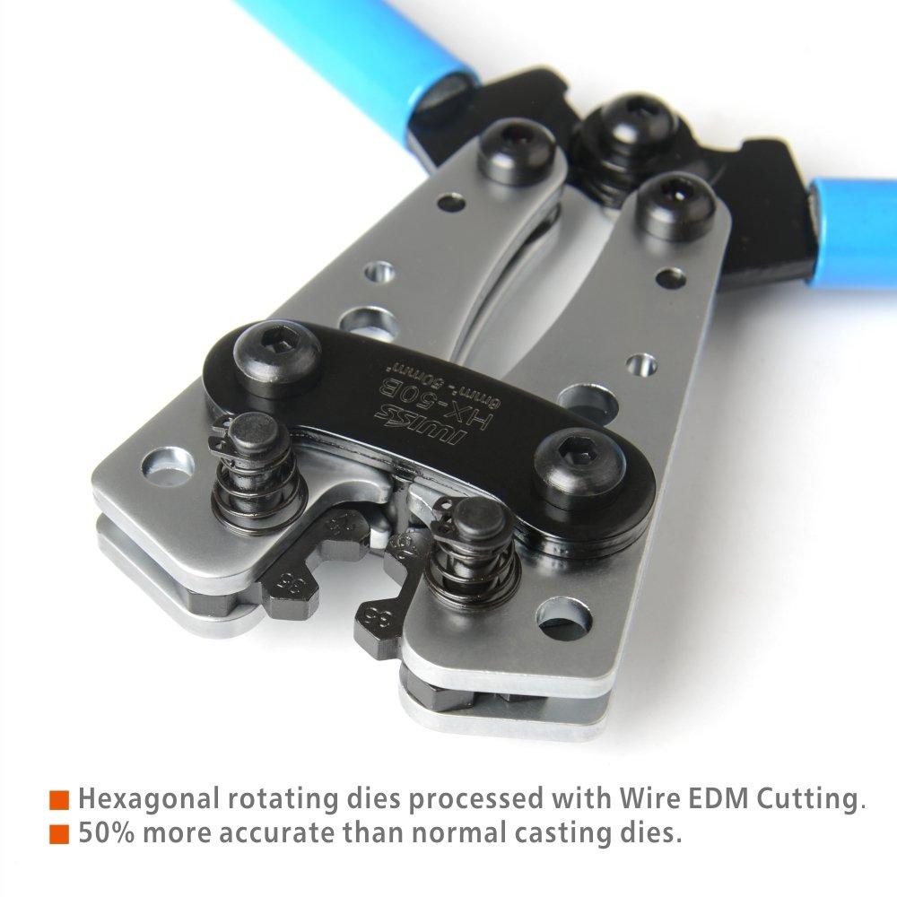 IWISS Wire Terminal Crimping Tool 6-50mm² Cable Lug Crimper Cu/Al ...