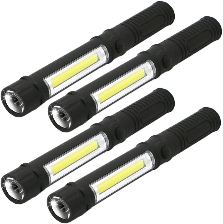 Cob Led Pocket Pen Light Inspection Work Light Magnetic Torch Flashlight Clip ^S