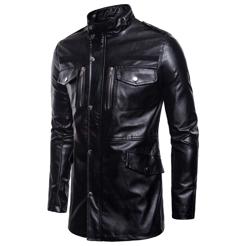 Men's Stand Collar Punk Style Motorcycle Multi-Pocket Leather Jacket Sweater Long Coat,AcisuHu by AcisuHu Hoodie