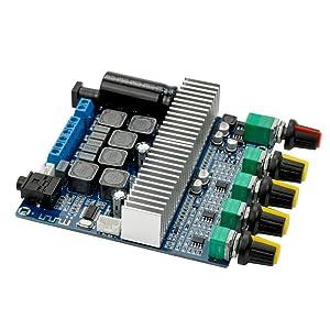 AOSHIKE DC12V-24V 2.1 Channel TPA3116 Subwoofer Amplifier Board High Power Bluetooth 4.2 Audio Amplifier Board 2x50W+100W(2x50W+100W)