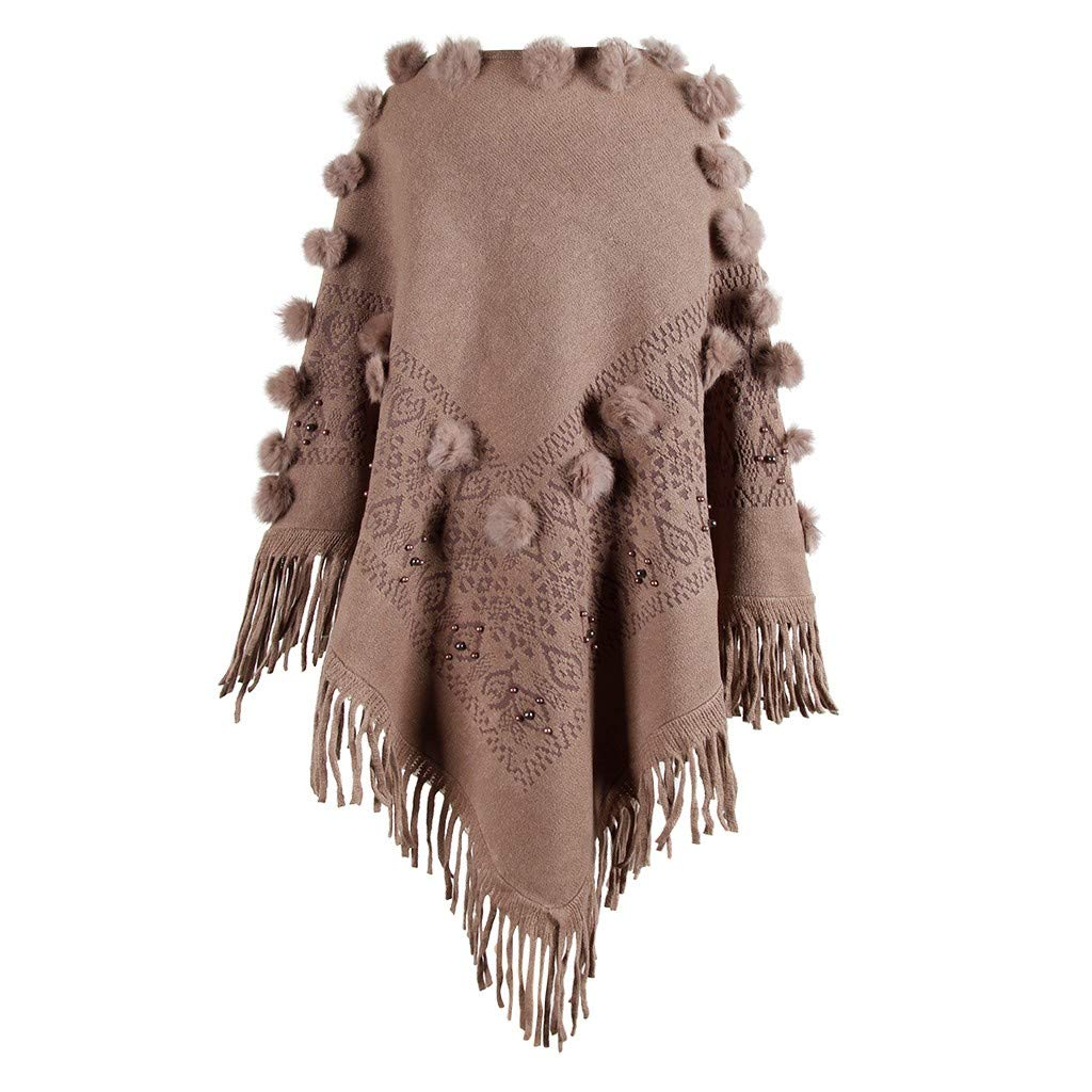 Franterd Women Loose Cape Shawl Autumn Casual Warm O-Neck Solid Hairball Tassel Cloak Cover up Cardigan Sweater Coat by Franterd