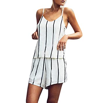 57e6ccb24879 Women Summer Sleeveless Spaghetti Strap Rompers Casual Empire Waist Short  Jumpsuits Rompers with Pockets (White