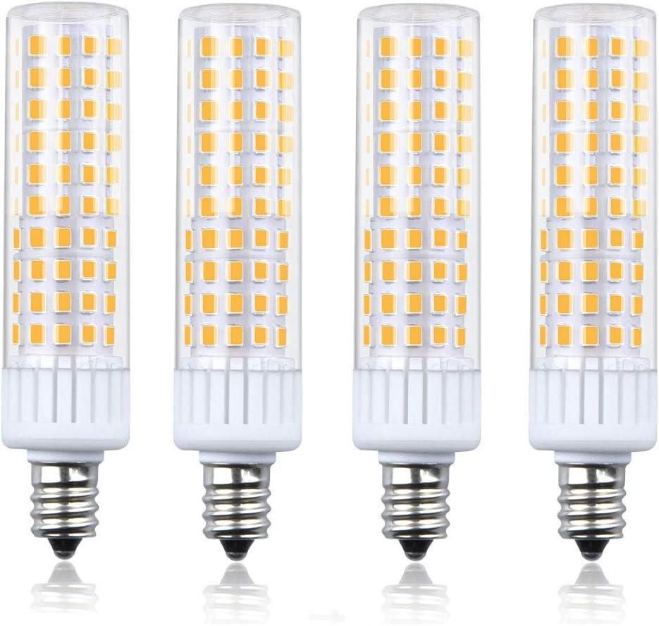 Dimmable E12 LED Bulb 100W Equivalent Candle Base Halogen, Luxvista 8.5 watt Candelabra LED Bulbs Warm White E12 Corn LED Bulbs for Ceiling Fan/Chandelier, 4-Pack