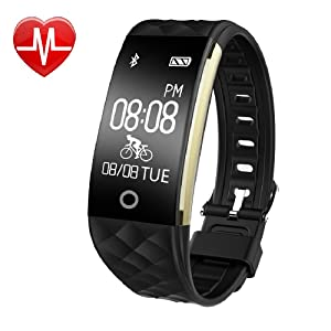Fitness Tracker Watch,YAMAY Activity Tracker Heart Rate Monitor Waterproof Fitness Smartwatch Smart Bracelet Pedometer Wristband Tracker /Cycling/Sleep Monitor/Find phone/Call SMS Whatsapp Vibration for Android iOS Phone[Upgraded Version]