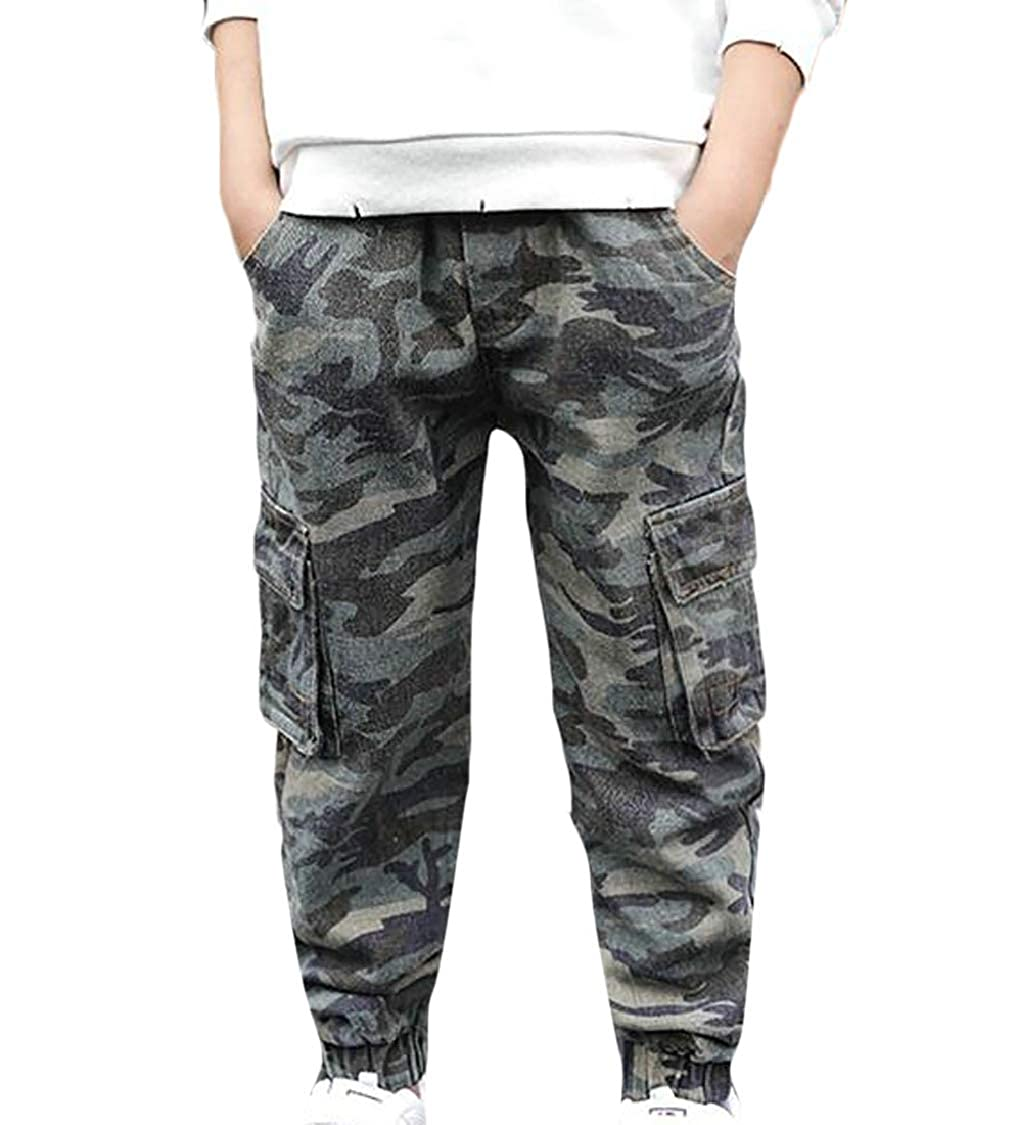 pipigo Boys Cute Casual Slim Camouflage Sport Cargo Jogging Pants