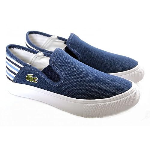 Lacoste - Zapatillas de vela de tela para niño azul azul marino, color azul,
