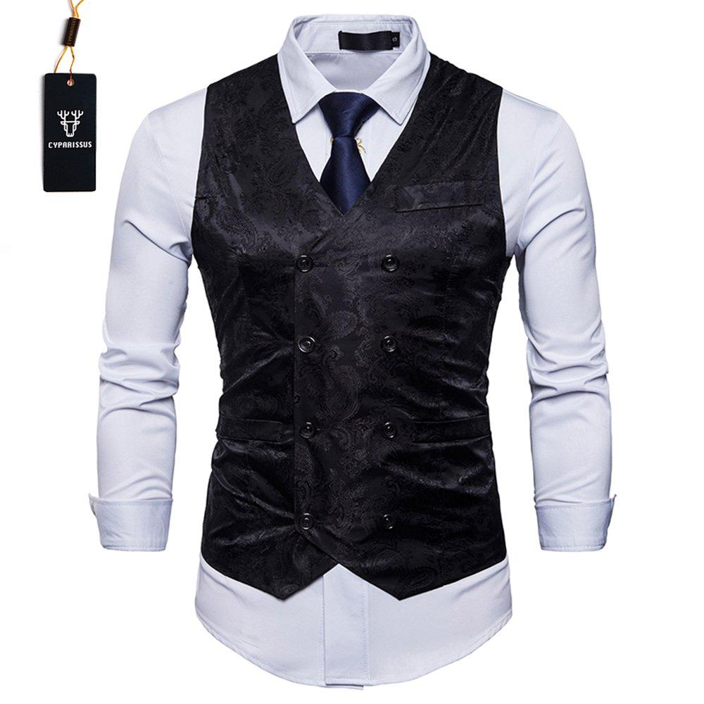 Cyparissus Mens Business Suit Vest Waistcoat Men's Dress Vest or Tuxedo Vest (XXL, Black)