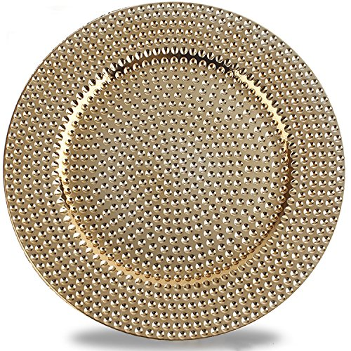 Benzara BM174289 Hammer Pattern Round Plastic Charger Plate Set of 6 Electroplating Finish, One Size, Gold