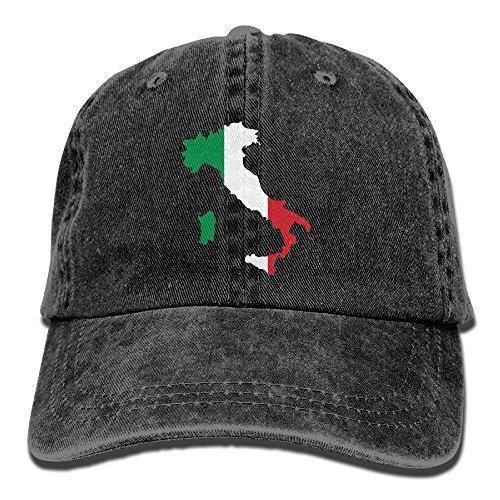 Hip Hop Italian (Italia Italy Italian Map Adult Denim Fabric Hat For Men Female Unisex,Boys Females Baseball Hat)